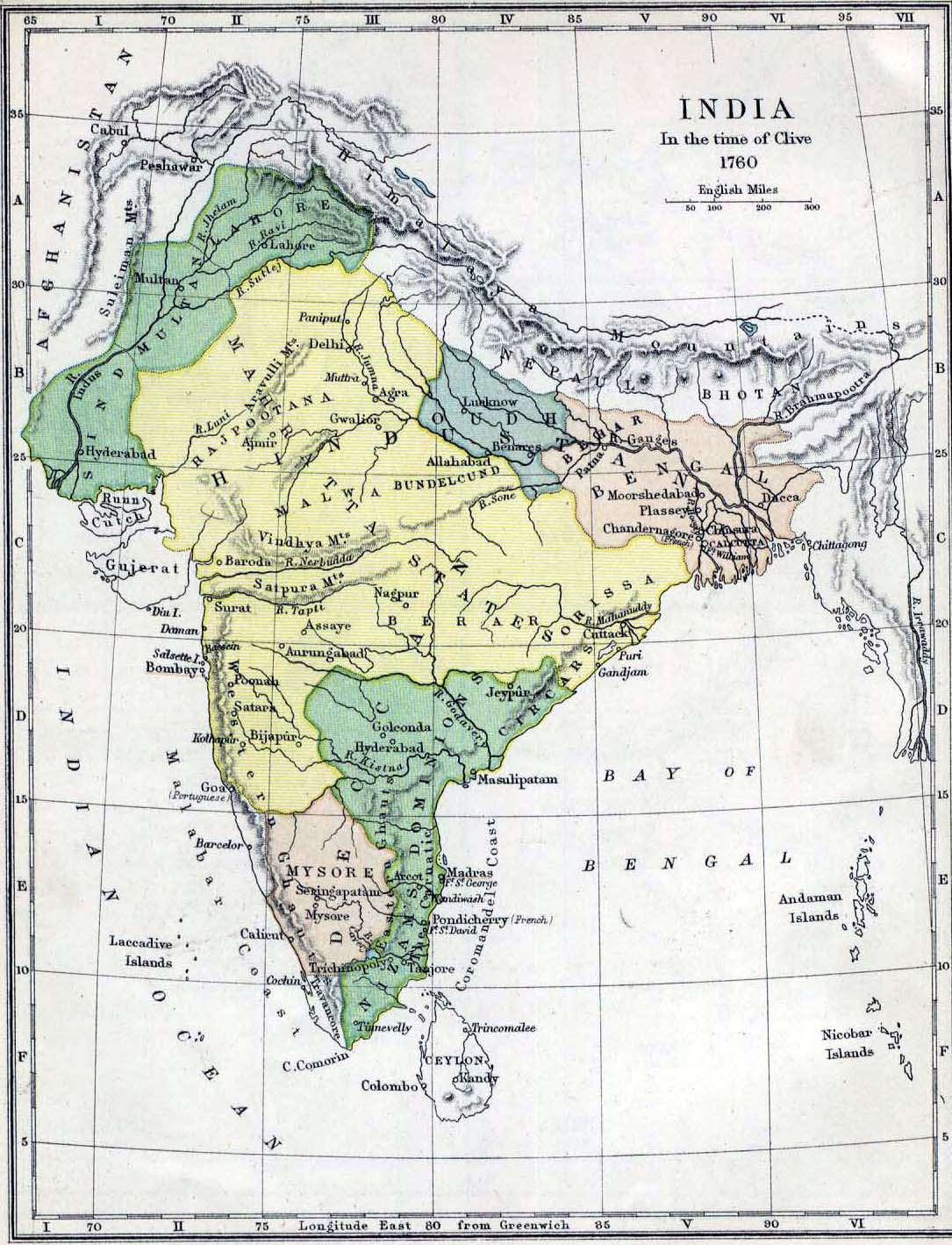 Map of India in the time of Clive 1760