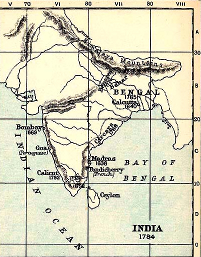 Map of India in 1784