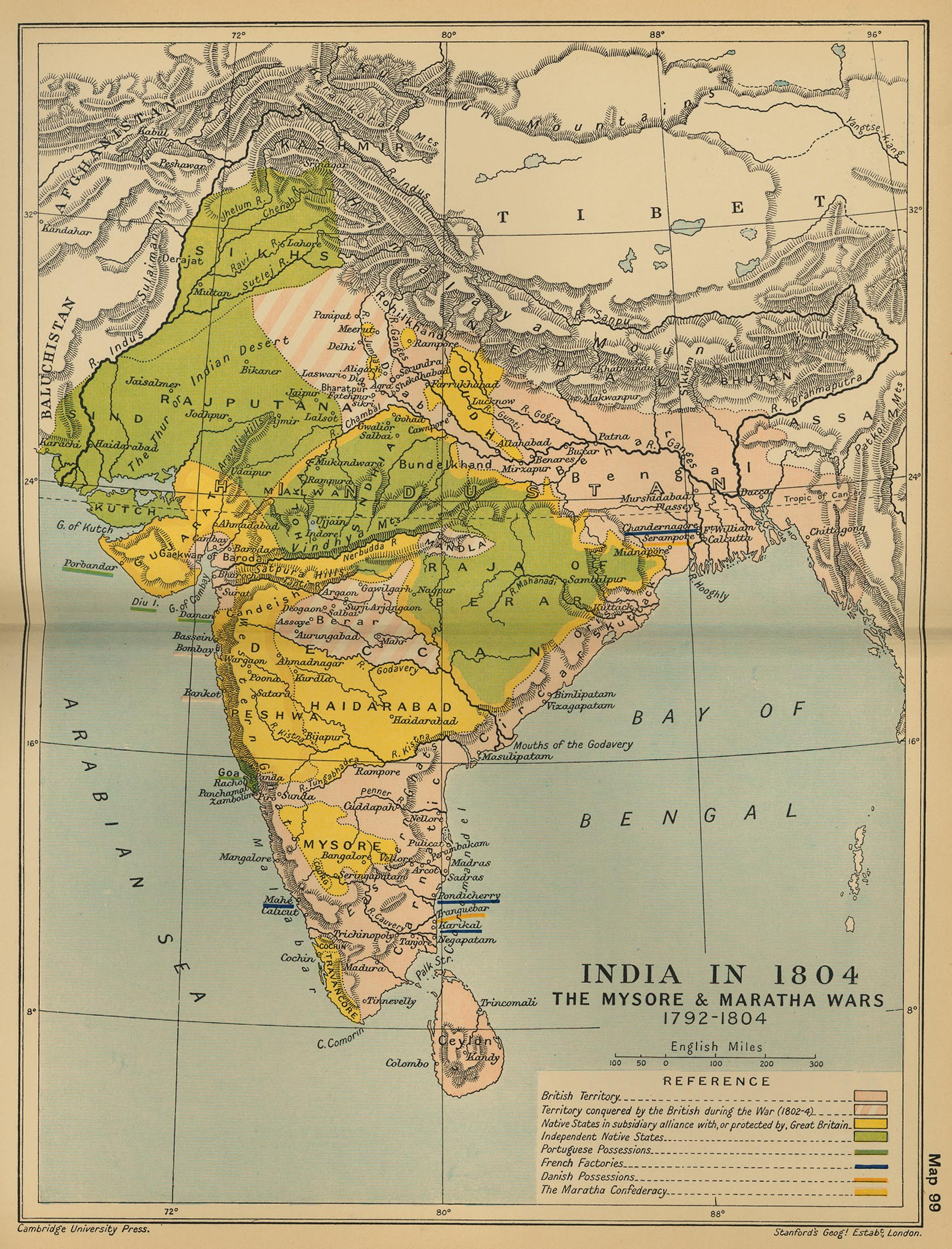 Map of India in 1804: The Mysore & Maratha Wars 1792-1804