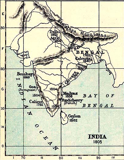 Map of India in 1805