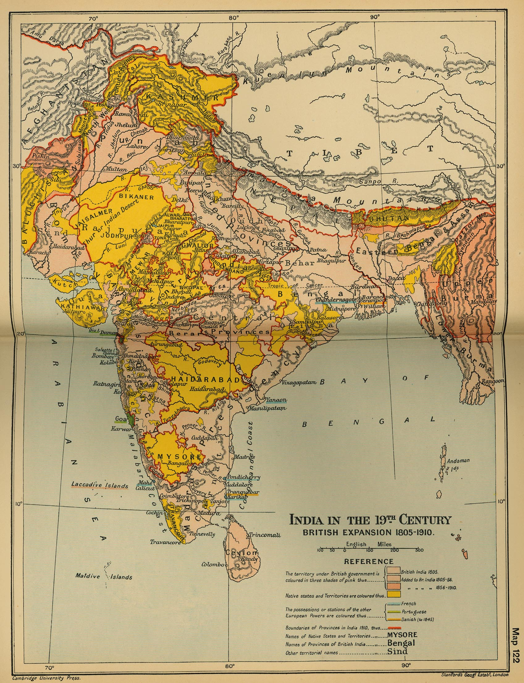 Map of India 19th Century