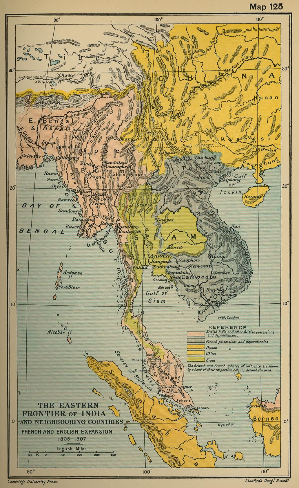 Map of Southeast Aisa: Eastern Frontier of India and Neighboring Countries: The French and English Expansion 1805-1907