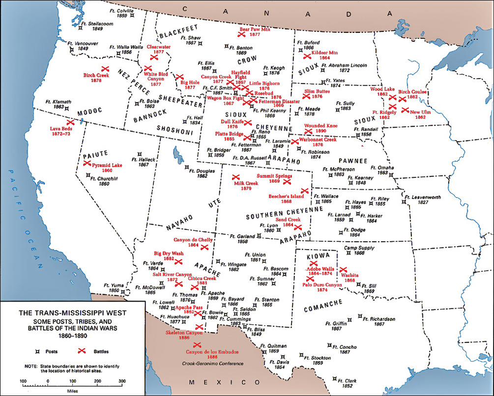 US Map Of Indian Posts Tribes And Battles - Us indian reservations map