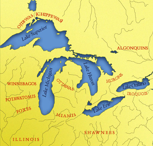 Map of the Indian Tribes Around the Great Lakes