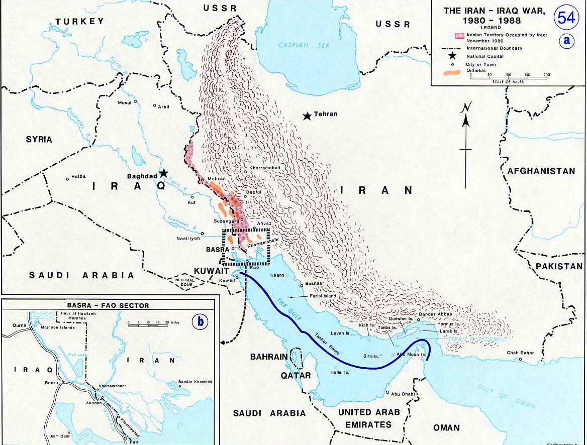 Map of the iran iraq war 1980 1988 history map of the iran iraq war 1980 1988 gumiabroncs Image collections