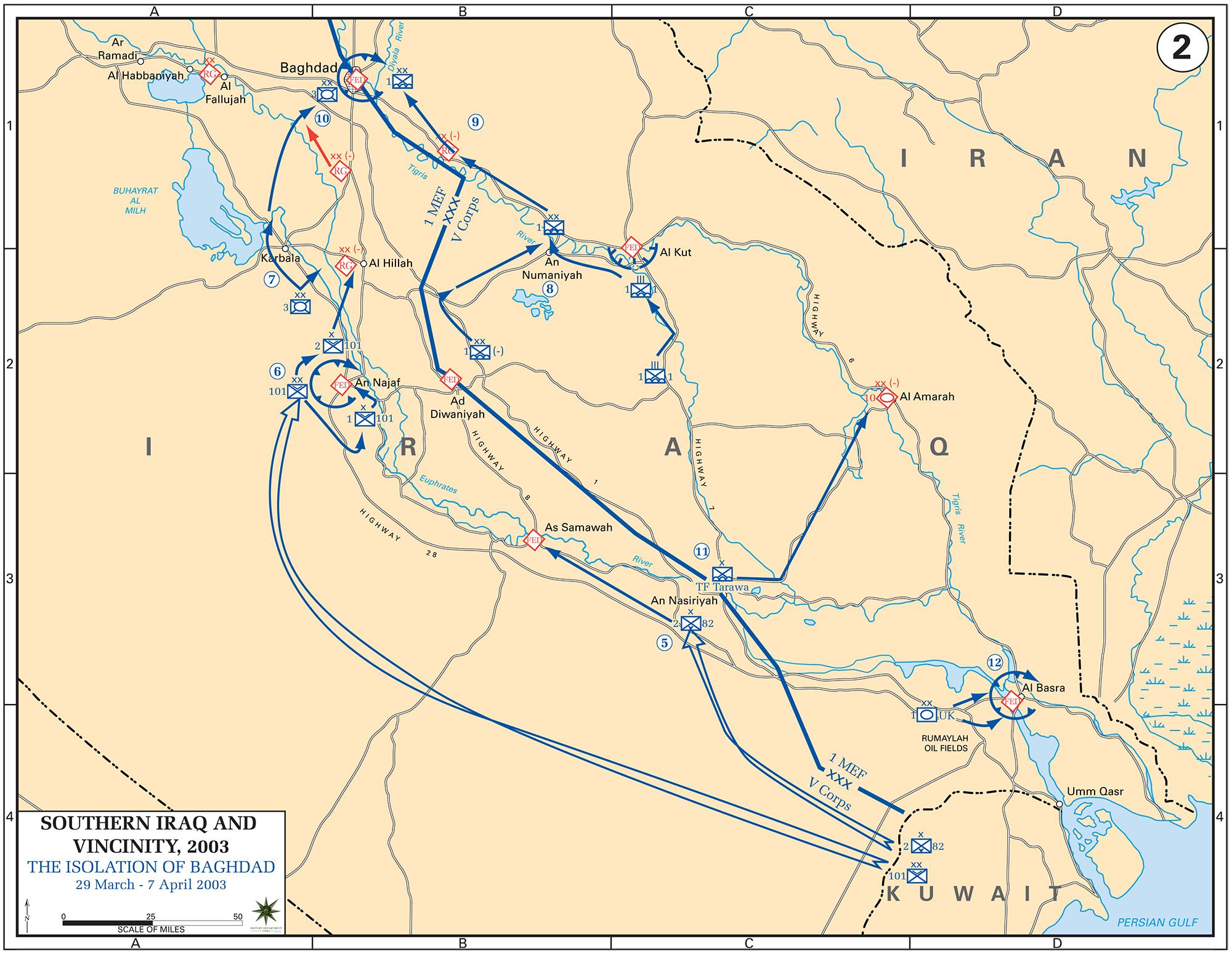 Map of Iraq April 2003
