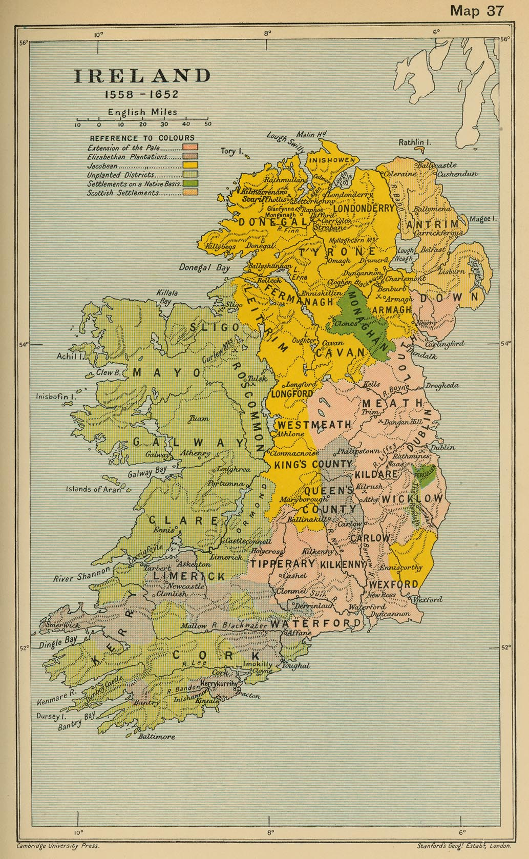 Map Of Ireland 1600.History Map Archive 1501 1600