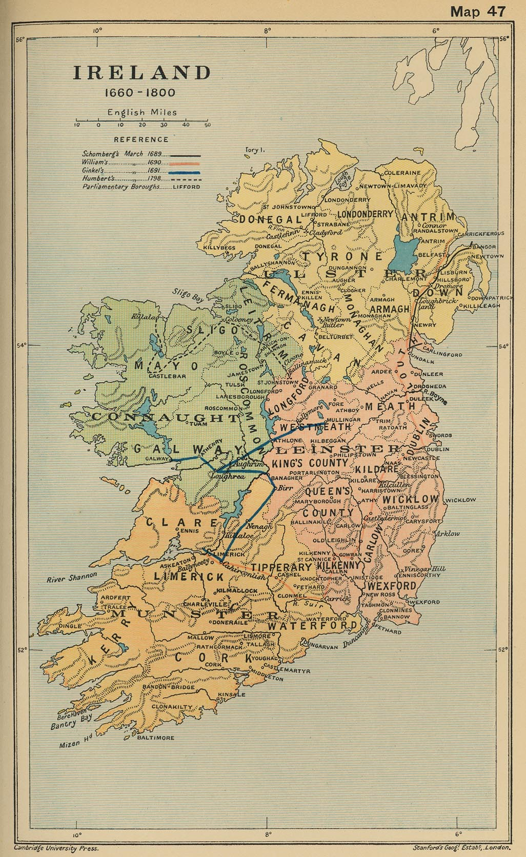 Map of Ireland 1660-1800
