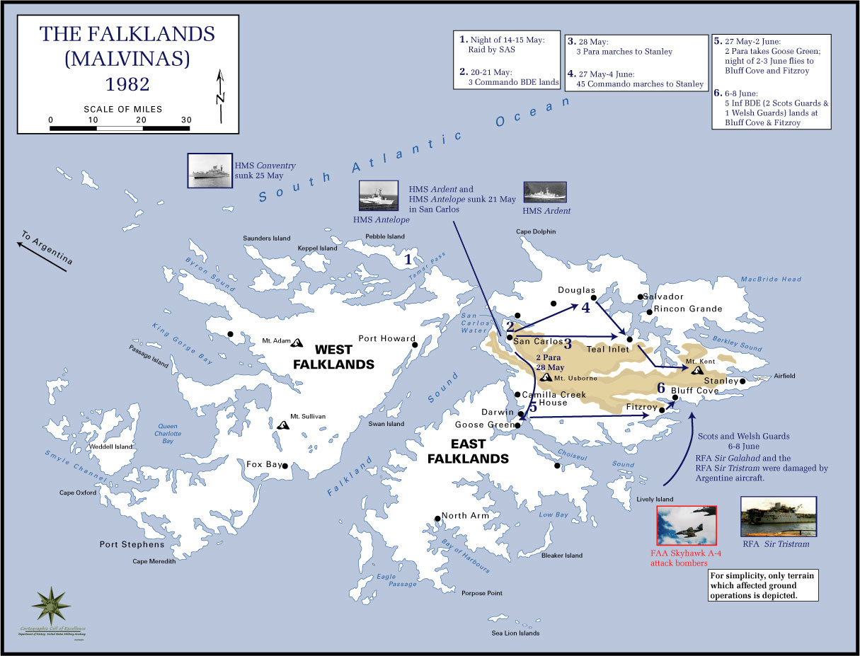 History Map of the Falkland Islands 1982. Campaign Movements.
