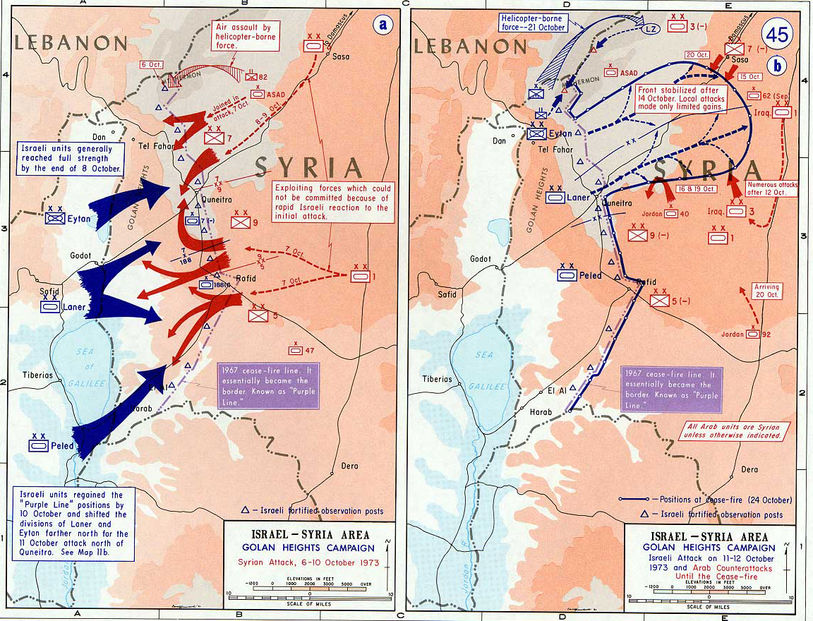 Map of israel and syria october 1973 history map of israel and syria golan heights campaign syrian attack israeli attack gumiabroncs Images