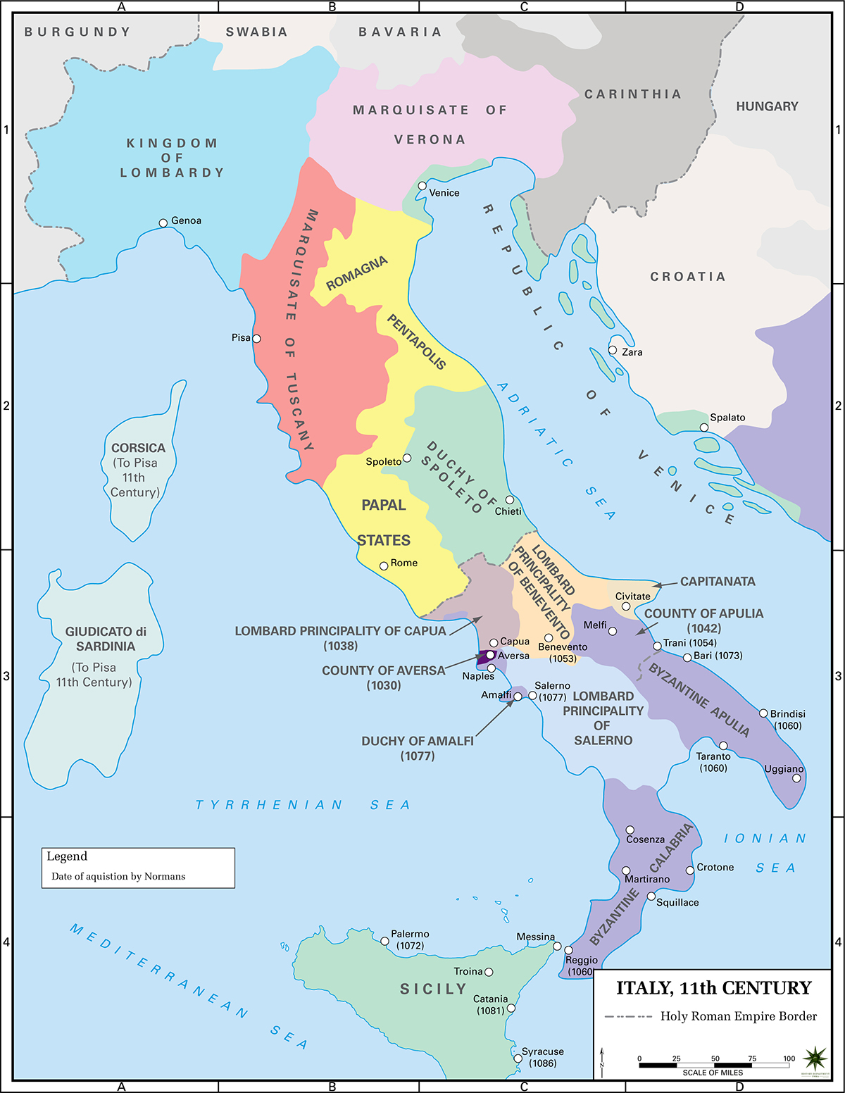 Political Map of Italy in the 11th Century