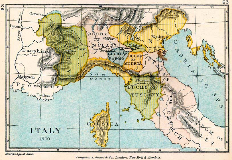 Map of Northern Italy in 1700