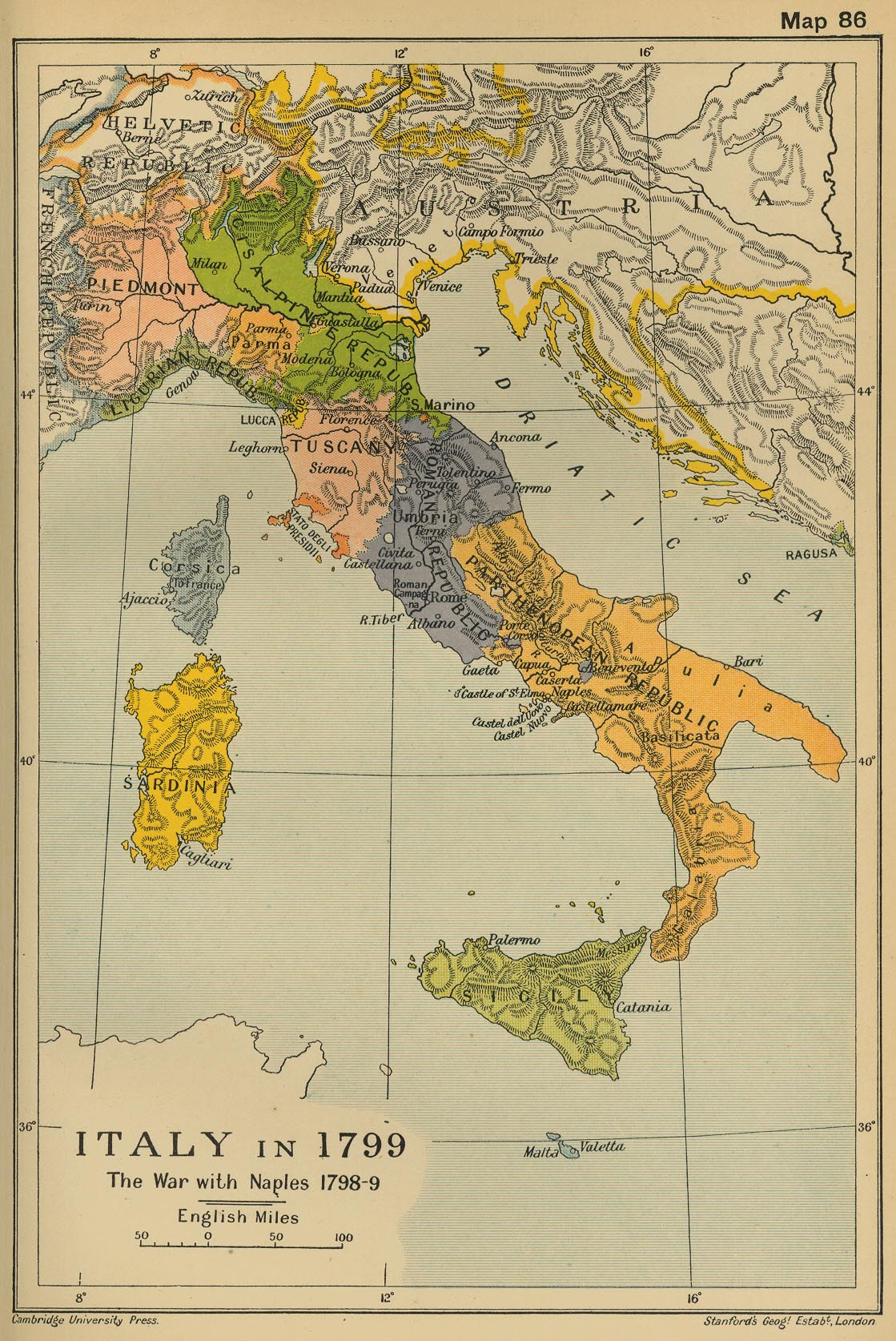 Map of Italy in 1799: The War with Naples