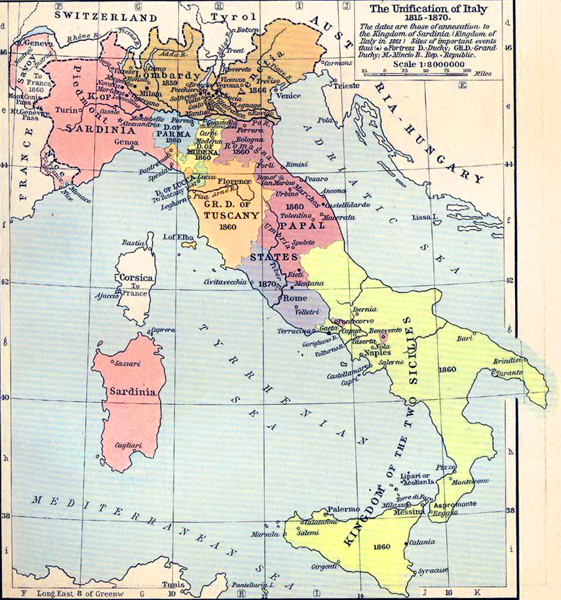Map of Italy 1815-1870 Map F on map l, map i, map a, map s, map c, map d, map e, map b,