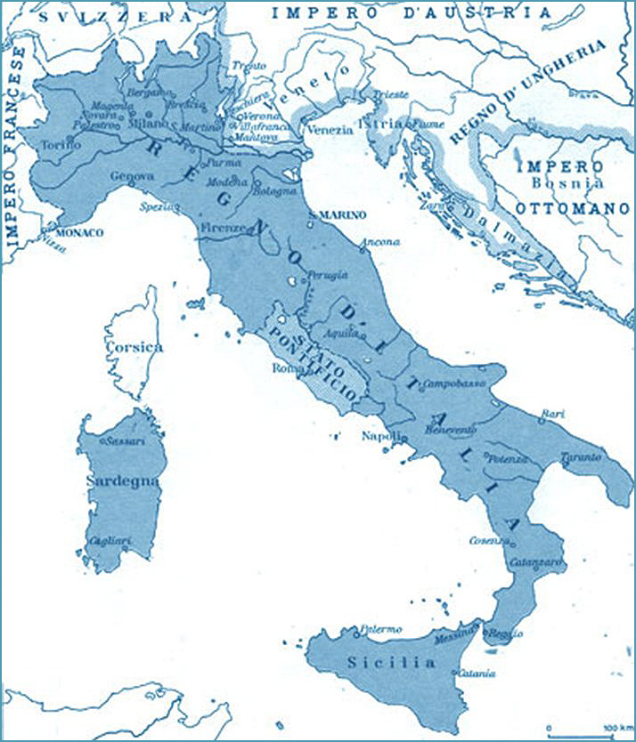 Maps of Italy Before and After Unification  Western Civilization