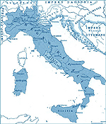 Map of Italy 1861