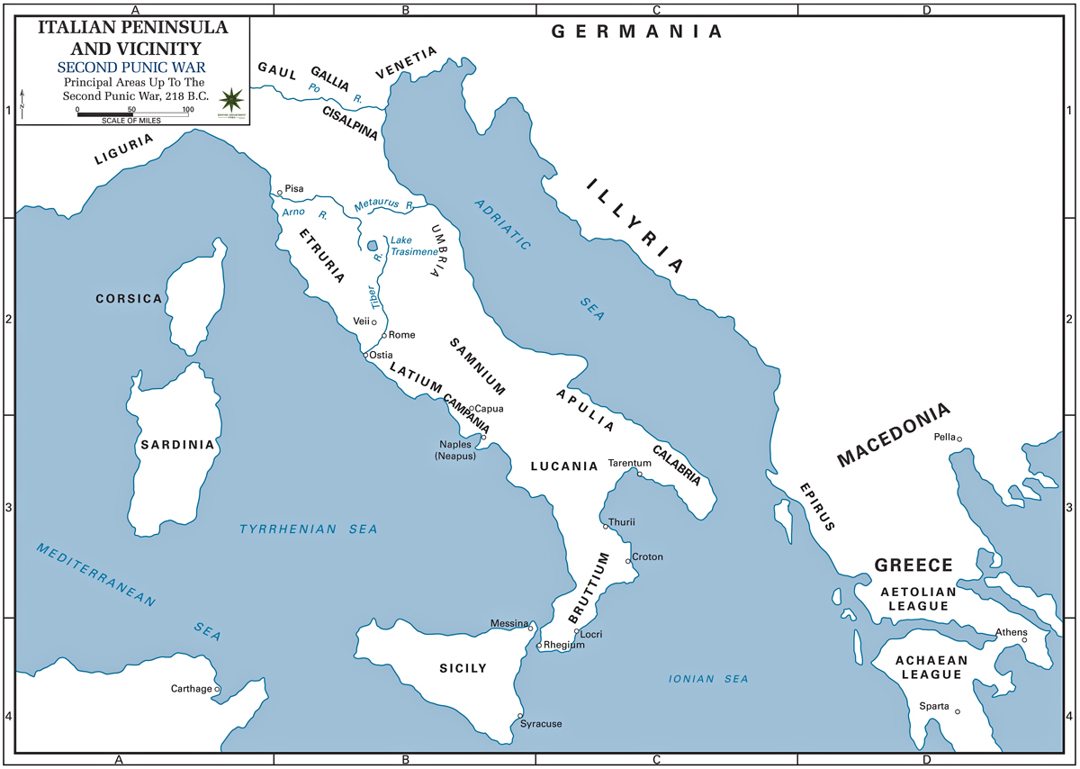 Map of Italy 218 BC - Second Punic War