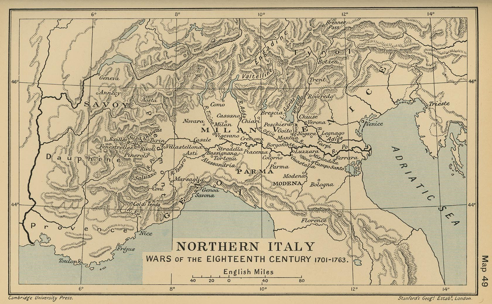 Map Of Northern Italy 1701 1763