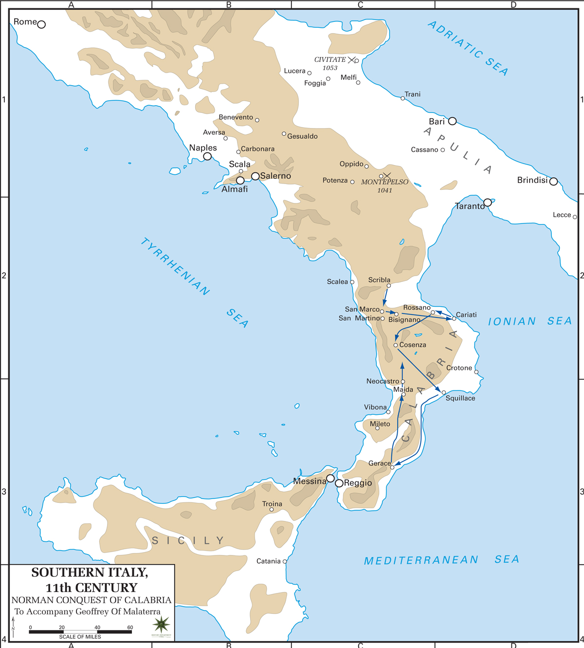 Map Of Southern Italy 11th Century