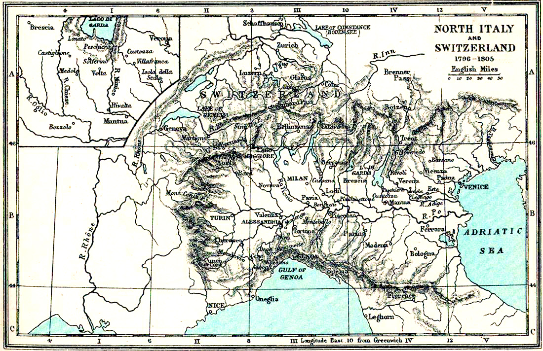 Map Of Italy And Switzerland 1796 1805