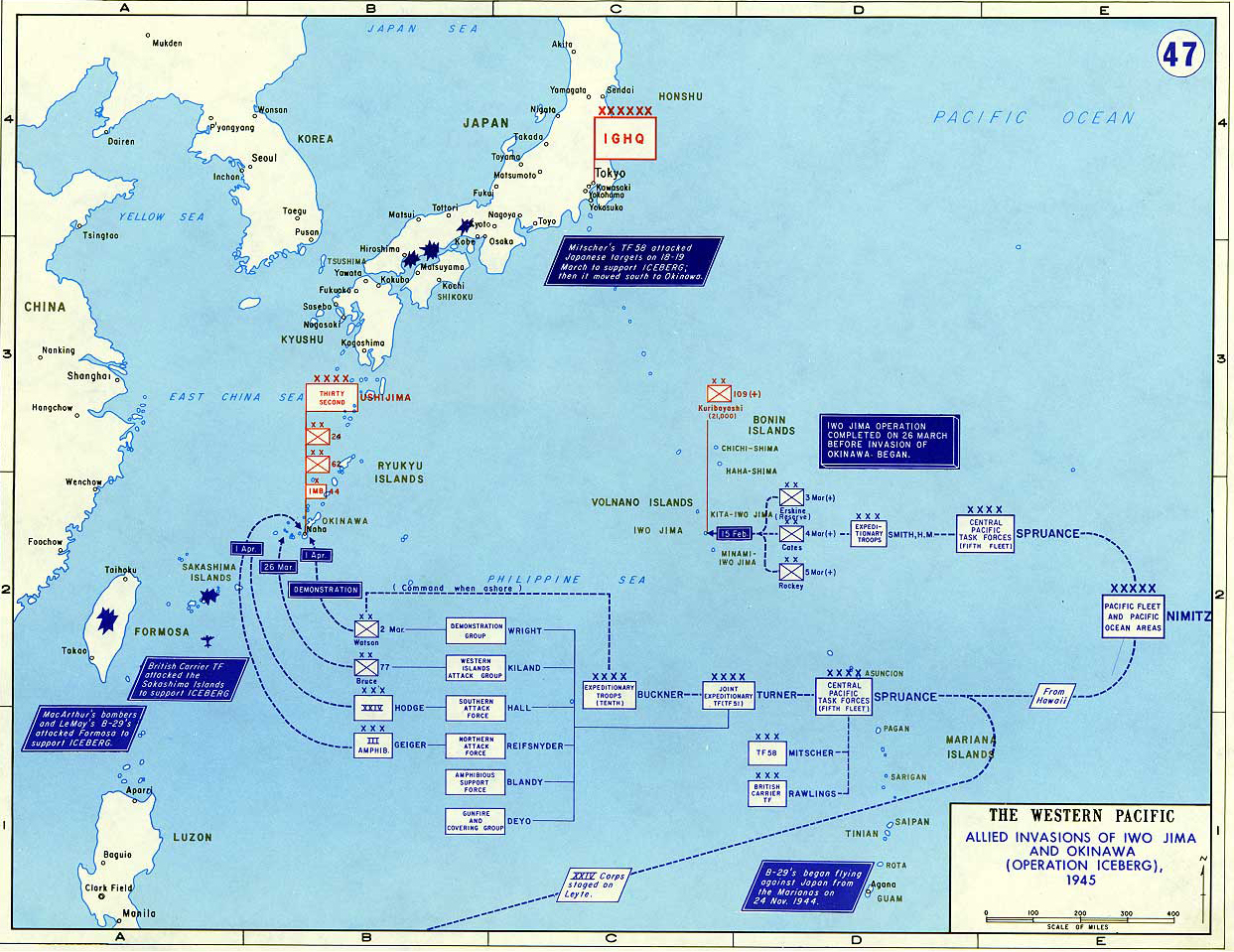 Map of wwii invasion of iwo jima and okinawa 1945 map of world war ii the western pacific 1945 allied invasions of iwo jima gumiabroncs Image collections