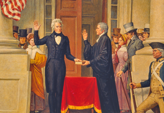 ANDREW JACKSON TAKING THE PRESIDENTIAL OATH - 1829