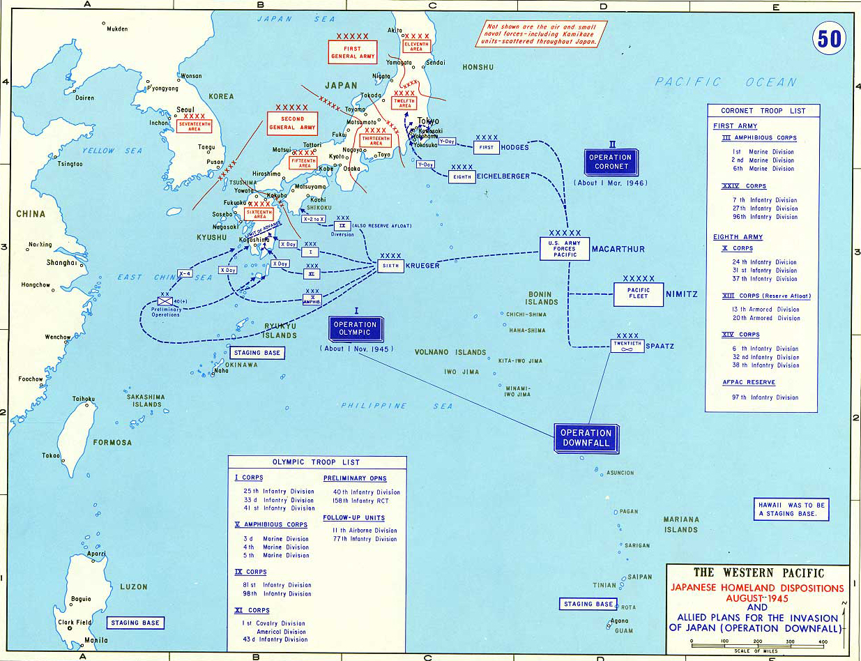 Map Of World War II: The Western Pacific. Japanese Homeland Dispositions  August 1945.