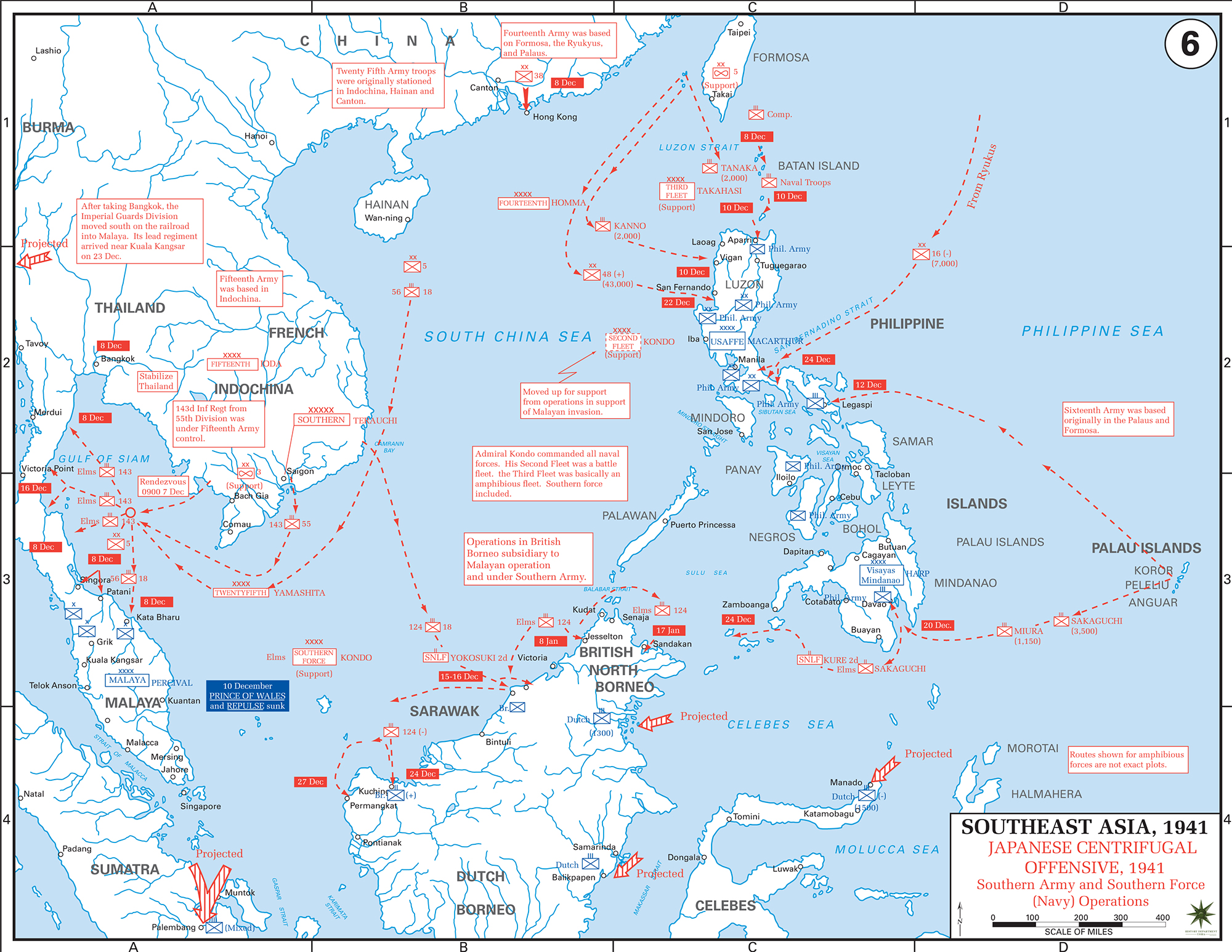 Map Of World War II: Southeast Asia. Japanese Centrifugal Offensive,  December 1941.