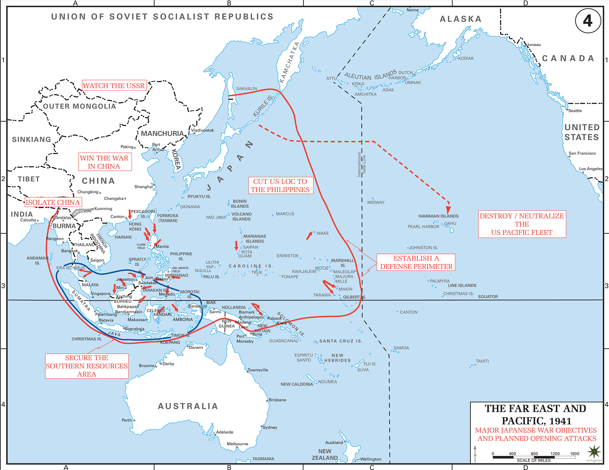Map Of World War II: The Far East And The Pacific 1941. Major Japanese