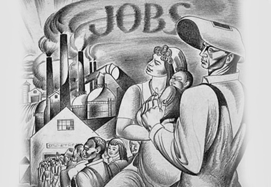 """THE KEYNOTE OF ALL THAT WE PROPOSE TO DO ... JOBS"" - Full Production and Full Employment under Our Democratic System of Private Enterprise - Crayon and ink by Michael Lenson, ca. 1944. © Barry and David Lenson. Library of Congress."