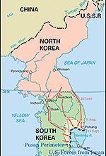 Map of the Korean War: June 1 - September 1950