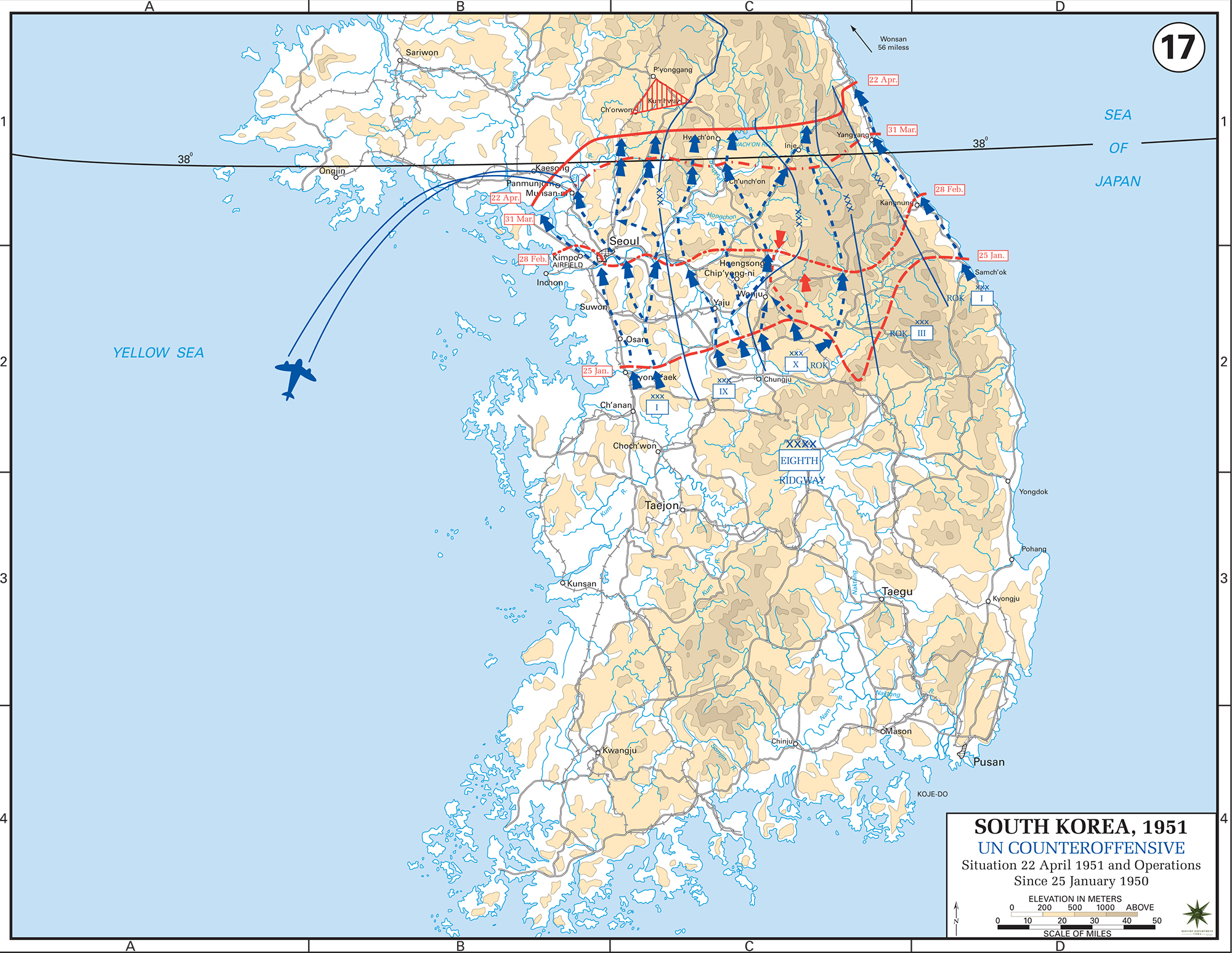 Worksheet. Map of the Korean War April 1951