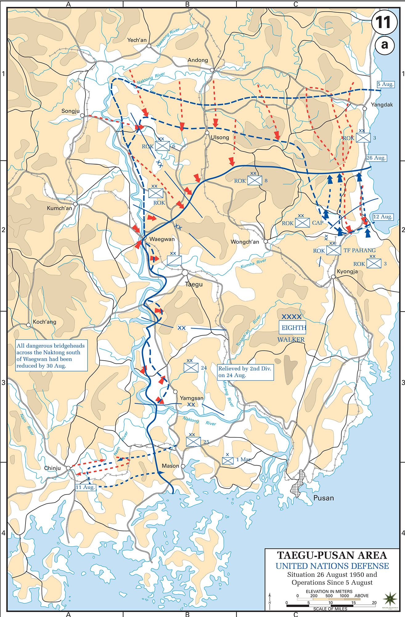 Map of the Korean War: Taegu-Pusan Area, U.N. Defense, Situation August 26, 1950, Operations Since August 5, 1950.