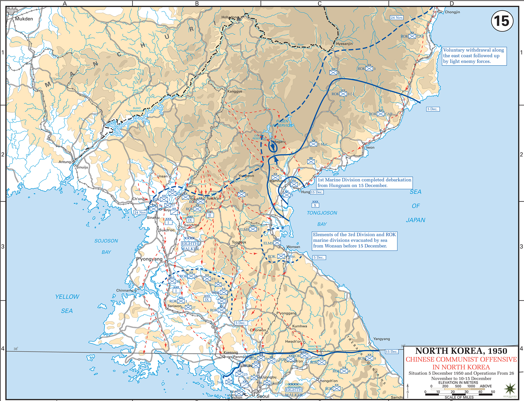 Map of the korean war december 1950 map of the korean war north korea un chinese communist offensive situation december gumiabroncs Image collections