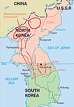 Map of the Korean War: November 3, 1950 - January 1951