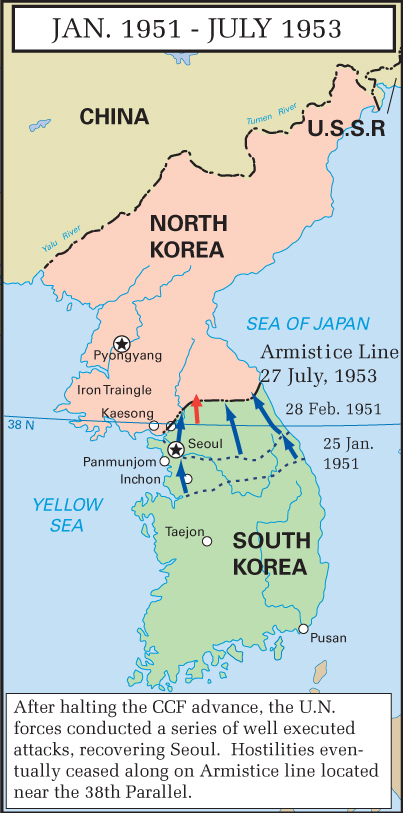 Map of the Korean War 1950-1953. Insets.
