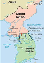 Map of the Korean War: January 1951 - July 1953