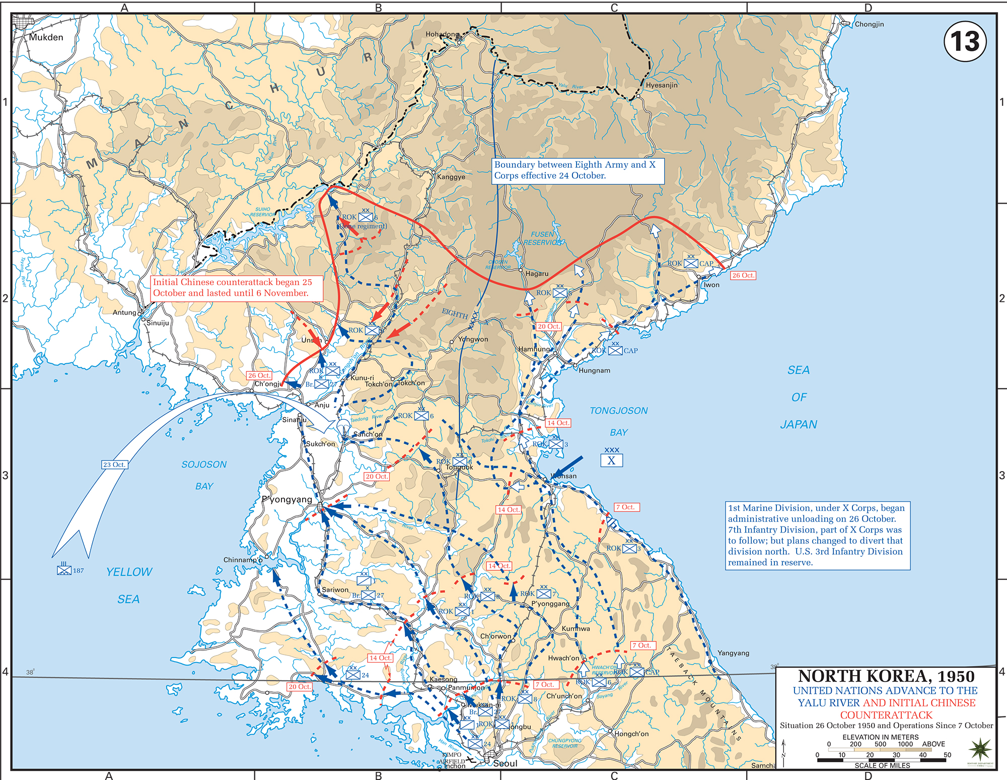 Map of the korean war october 1950 map of the korean war north korea un advance to the yalu river sciox Choice Image