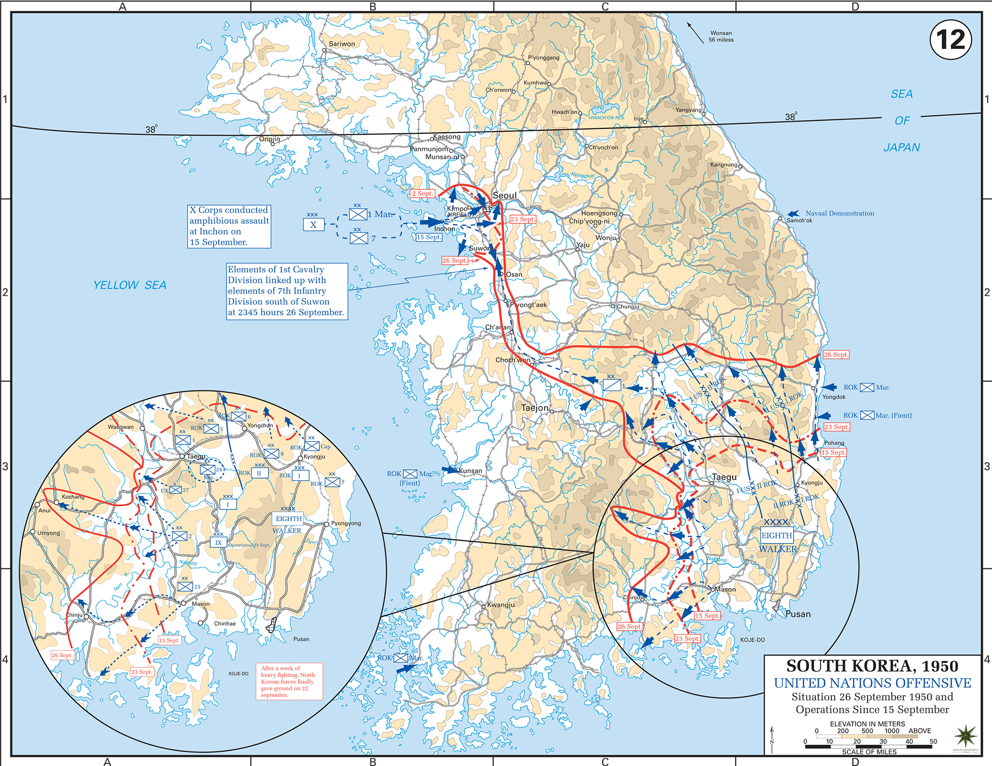 Worksheet. Map of the Korean War End of September 1950