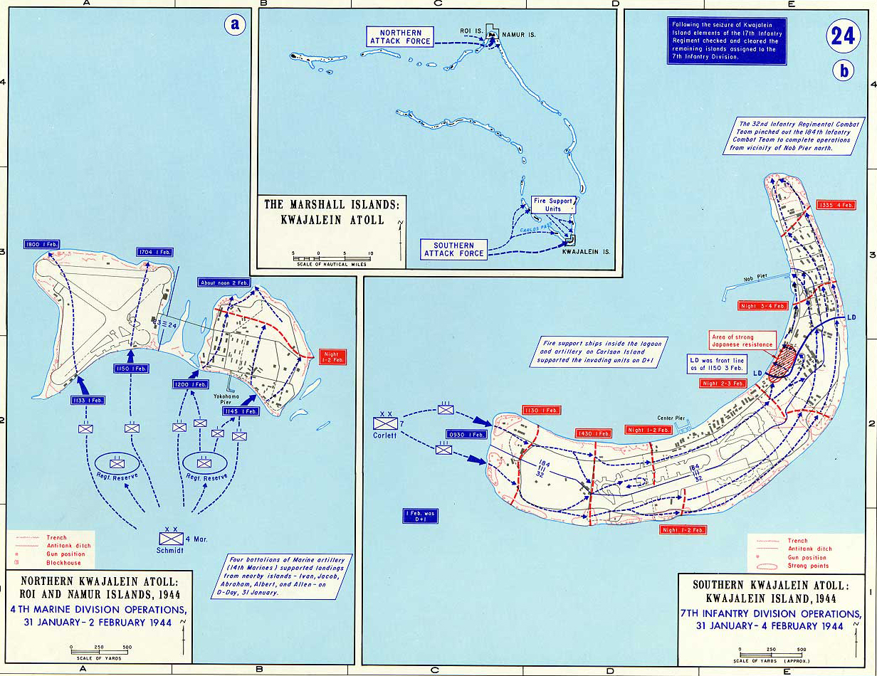 Map Of WWII Kwajalein Atoll - Marshall islands map