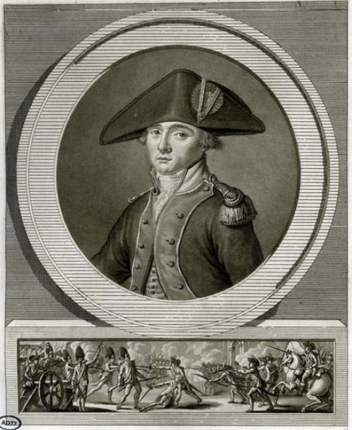 Portrait of General La Fayette and the Battle of Brandywine, 1777