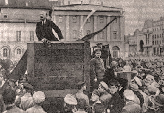 Lenin speaking to crowds in Moscow - May 5, 1920