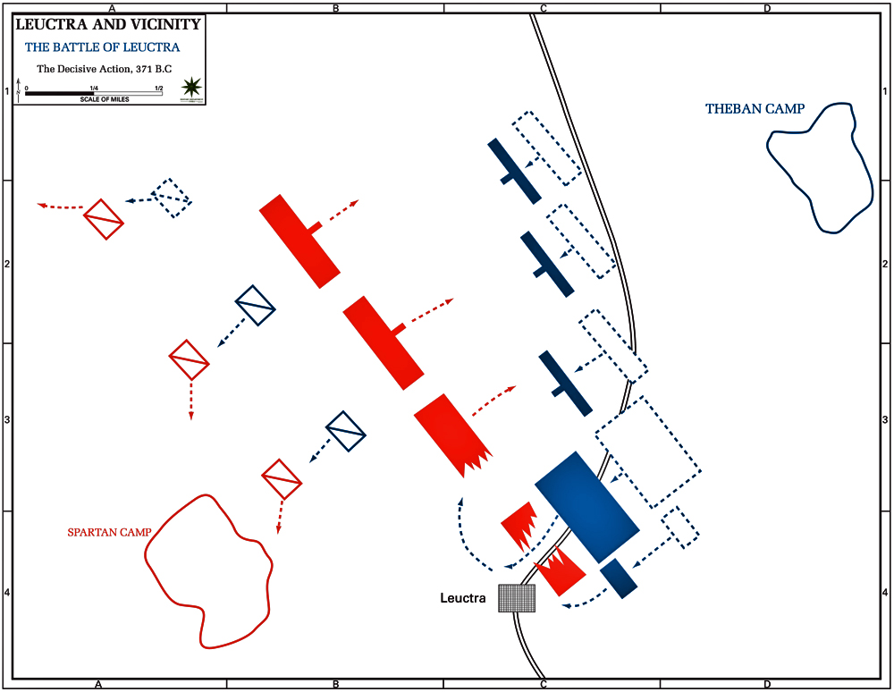 Map of the Battle of Leuctra - Decisive Action, 371 B.C.