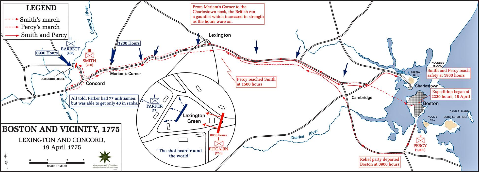 Map of the Battle of Lexington and Concord - April 19, 1775