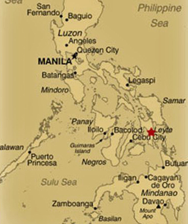 MAP LOCATION OF LEYTE - PHILIPPINES