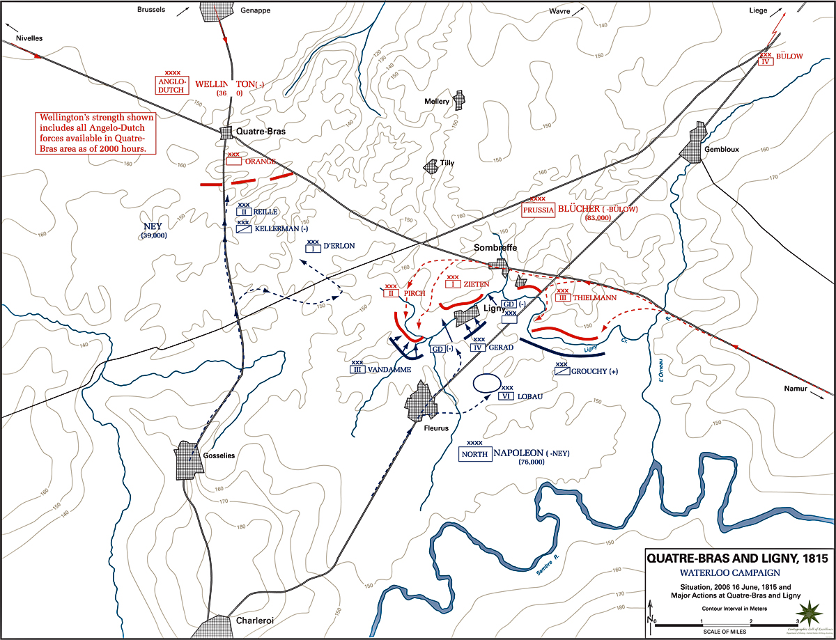 Map of the Battles of Ligny and Quatre-Bras - June 16, 1815