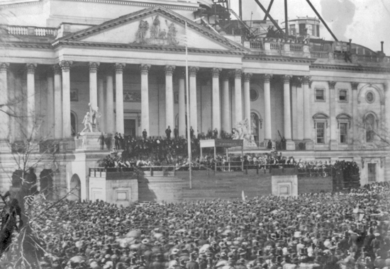 ABRAHAM LINCOLN'S INAUGURATION AT THE U.S. CAPITOL - 1861