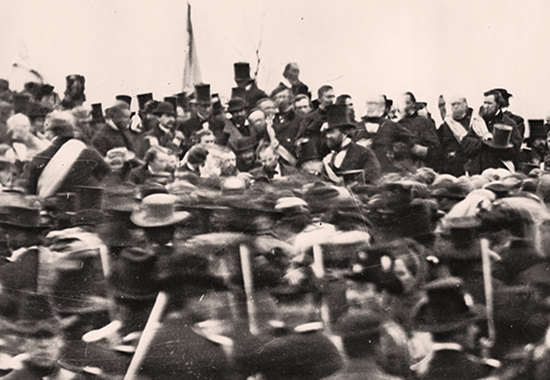 Abraham Lincoln at Gettysburg, PA - November 19, 1863, around noon, three hours prior to giving his Gettysburg Address.