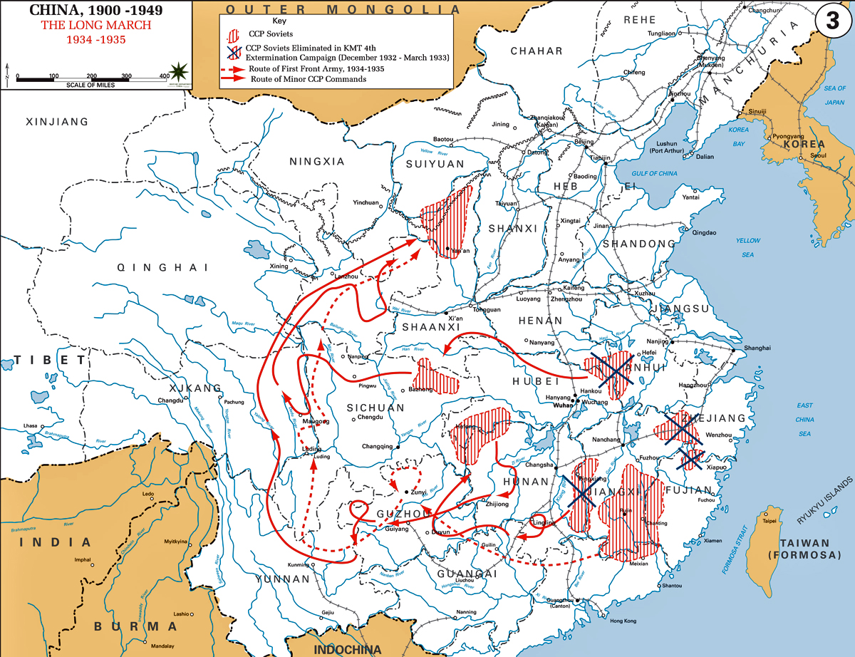 Map Of China 1934 1936 The Long March