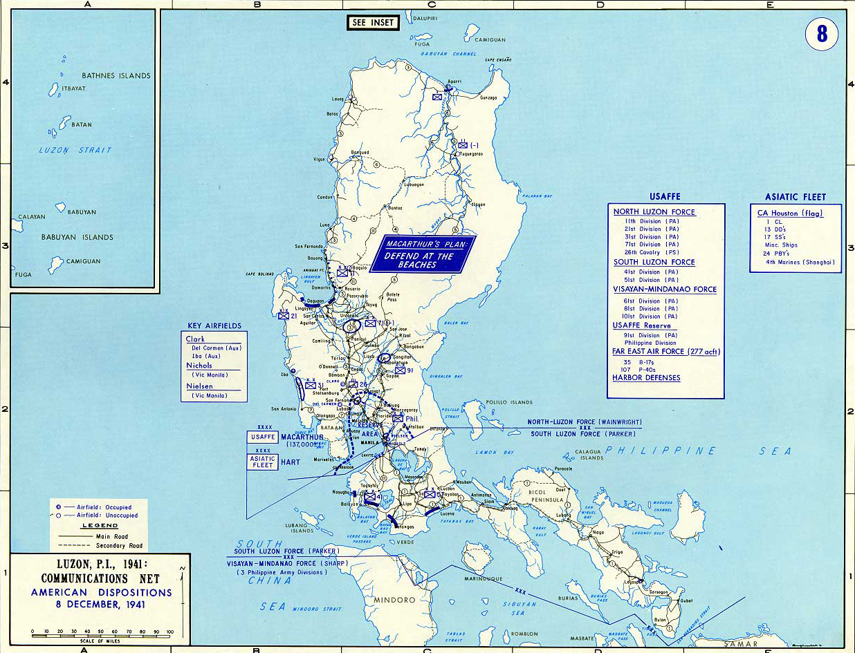 Map of World War II: Southeast Asia. Luzon, Philippines, Communications Net,